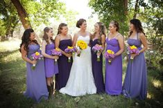 mismatched purple bridesmaids dresses, purple and yellow rustic wedding, Kendall Price Photography