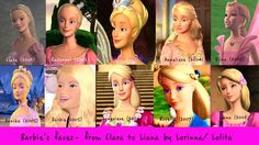 """All Barbie Movies """"Barbies"""" from 2001-2008..The Princess and the Pauper came out 10 years ago, am I the only one who's shaken by this? Probably."""