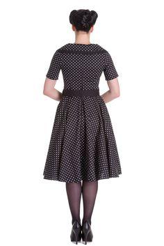 Vestido modelo Mimi de la firma Hell Bunny. Vestido de los años 50, con corte de capa y largo midi. Disponible en www.hadaspinup.com