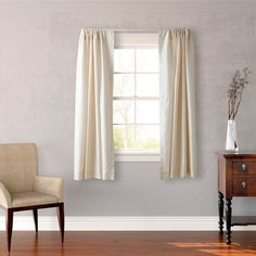 Heritage Landing Faux Silk 63-inch Curtain Panel Pair (Ivory), Beige Off-White, Size 63 Inches