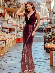 937f05afe49 Floor Length Sequin  amp  Velvet Prom Dress