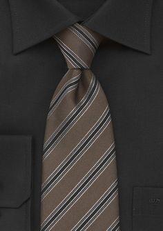 Krawatte mittelbraun Streifendessin