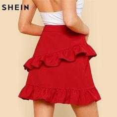 f105c44574486e Hem Summer Women Skirts Solid Red High Waist Short Skirt Asymmetrical  Layered Ruffle Skirt
