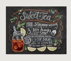 Chalkboard sign Art Print Sweet Tea Recipe Print by LilyandVal