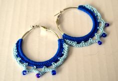 blue turquoise yarn crochet hoop earring by itsybitsyarts on Etsy