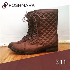 Quilted Combat Boots Quilted boots! Faux leather, never been worn. Sticker still on soles! I discount bundles 25% :) Shoes Combat & Moto Boots