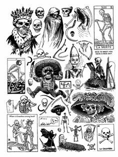 """well-fed: """" Select pages from Craphound - Death """" Skull Tattoos, Body Art Tattoos, Tattoo Sketches, Tattoo Drawings, Dessin Old School, Tatuagem Old School, Tattoo Flash Art, Dark Tattoo, Tattoo Flash"""