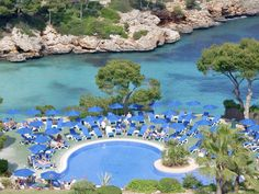 This is the pool at Hotel Inturotel Cala Esmeralda, Cala d'Or, Mallorca/Majorca. I think it's a chain of hotels but this one is more focused on adults. Cala D'or has the most beautiful beaches, small picture perfect coves and golden sands. I remember being there in the mid 90s for an eclipse!