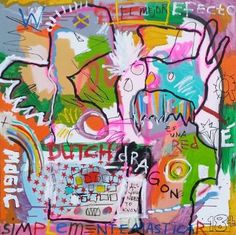 Buy Hatching an egg, a Acrylic on Canvas by Harold Westerink from Netherlands. It portrays: Abstract, relevant to: pink, birds, shell, words, neo, egg, expressionism, green, orange atomic jungle dirt bowl overdrive fire bird monkey