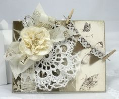 Handmade Shabby Chic Vintage French card doily stamped by jlleddy