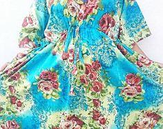 Turquoise Floral Kaftan, Caftan, cotton caftan, cotton kaftan, kaftan maxi dress, long caftan, maxi dress batik robe  women's clothing