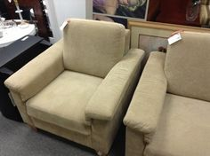 Latte Coloured Easy Chair - Latte coloured chair matches the sofa.  Item was a floor model from a local retailer and is in perfect like new condition.  Item 21006-80.  Price $320.00    - http://takeitorleaveit.co/2013/08/21/latte-coloured-easy-chair/