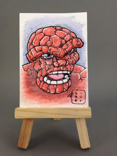 One of a kind artist trading card watercolor painting. Ive always been a huge fan of the Thing since I was a kid. I liked the old school rendition the best! Art Trading Cards, Atc, Indie Brands, Old School, Watercolor Paintings, Old Things, My Etsy Shop, My Arts, Awesome