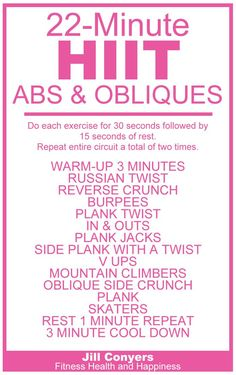 HIIT Abs & Obliques Workout High Intensity Interval Training with Abs and Oblique Exercises. Abs And Obliques Workout, Hiit Abs, Oblique Workout, Hitt Workout, Gym Workouts, At Home Workouts, Oblique Exercises, Workout Fitness, Workout Routines