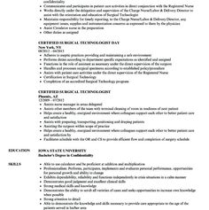 Surgical Technician Resume Best Tech Sample Student Samples Examples Free Templates Certified Technologist