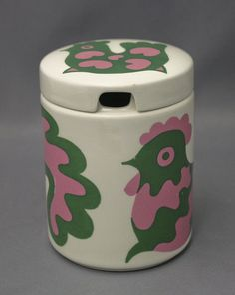 "A vintage china jar ""Emma"" by Finnish Arabia, designer Gunvor Olin-Grönqvist."