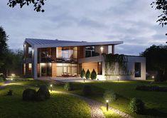 Modern cottage (2013) on Behance Roof Design, Exterior Design, Wood Facade, Hillside House, Modern Cottage, Unique Architecture, Construction, Stone Houses, Modern House Plans