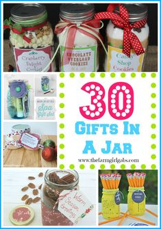 30 Quick & Easy Gift In A Jar Ideas that are perfect for Christmas, Birthdays, or any special occasion.