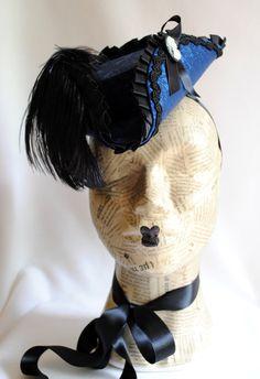 Mini Tricorn Hat in Blue and Black Baroque Gothic by BizarreNoir