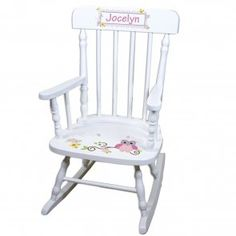 Hand Painted Personalized Princess Rocking Chair White Rocker, Wood Rocking Chair for Girls Rocker Childs Toddlers first birthday SPIN-WHI Toddler Rocking Chair, Eames Rocking Chair, Rocking Chair Nursery, Childrens Rocking Chairs, Wingback Chair, Bloom High Chair, Painted Rocking Chairs, Nursery Rocker, Accent Chairs For Living Room