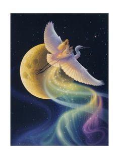 Trademark Global Kirk Reinert 'Flight Of The Aurora' Canvas Art - 35 Fantasy World, Fantasy Art, Gifs, Glitter Graphics, Animation, Gif Pictures, Stars And Moon, American Artists, Faeries