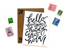 Hello Bonjour Ciao Greeting Card  Handwritten by SketchyNotions