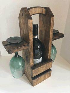 Rustic Wine Caddy Wine Carrier Wine Tote Housewarming Gift
