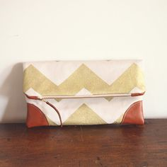 Foldover Clutch Purse/ Gold chevron and Tan by ElevenRoosters, $55.00
