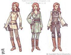 I love these 'Jedi' variations of Mara Jade costumes {via TimArtIllustration@Deviantart}