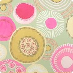 Soft green, fuchsia pink and ivory orbs, circles and dots ~ AH - Piccolo ~ Textile Prints, Textile Patterns, Textile Design, Fabric Design, Floral Prints, Pretty Patterns, Color Patterns, Abstract Pattern, Pattern Art