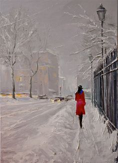 Christina Nguyen - the thick oil pastel really emphasizes the texture of the snow. Love this.