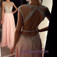 Elegant pink chiffon prom dess with open back sequins top, modest prom dress 2016 #coniefox