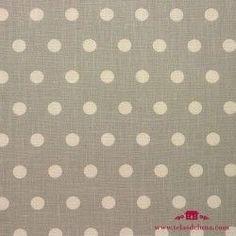 Mantel resinado lino gris topos blancos