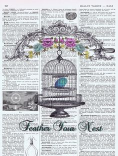 Vintage Book Pages, Map and Music Sheet Prints / Feather Your Nest Bird Cage Illustration