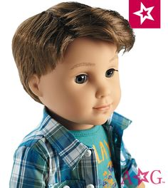 """Logan Doll. Meet Logan, Tenney's band mate and drummer! The 18"""" Logan doll has gray eyes that open and close, and short brown hair. Logan's unique hand positioning helps him hold instruments! He arrives in a plaid button-down shirt, a T-shirt, jeans, underwear, and shoes.  $115"""