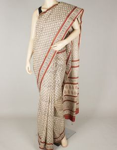 Hand Block Print Mulmul Cotton Saree without Blouse-1259