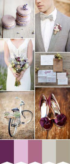Plum purple and grey elegant wedding color ideas 25