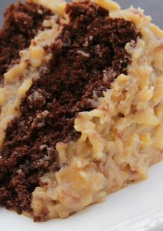 Best Ever German Chocolate Cake ~ Moist chocolate cake and traditional coconut pecan frosting, layer upon layer of goodness. Best Ever German Chocolate Cake a moist chocolate cake and traditional coconut pecan frosting, layer upon layer of goodness. Just Desserts, Delicious Desserts, Dessert Recipes, Delicious Chocolate, Craving Chocolate, Fall Cake Recipes, Apple Cake Recipes, Frosting Recipes, Food Cakes