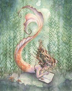 Goldfish Mermaid with Book