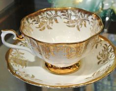 Vintage Royal Albert Bone China England Footed Tea Cup and Saucer Demitasse Gold Gilt Trim Floral Wheat Pattern Porcelain Garden Tea Party