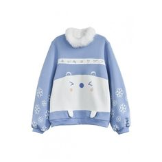 Cute Bear Snowflake Japanese Letter Printed  Fur Round Neck Pullover... ($47) ❤ liked on Polyvore featuring tops, hoodies, sweatshirts, color block sweatshirt, sweater pullover, color-block sweatshirt, round top and color block tops