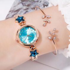 Disu Brand Bracelet Dress Quartz Watches For Women Luxury Rose Starry Star Design Fashion Creative Ladies Clock Reloj Mujer Fancy Watches, Cute Watches, Elegant Watches, Beautiful Watches, Wrist Watches, Girl Watches, Nixon Watches, Pocket Watches, Luxury Watches