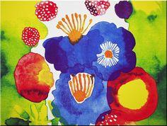 Marimekko 'Juhannastaika' fabric wall art in blue, green, red, yellow and white 120x90x4cm