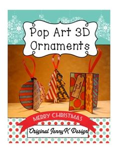 This 3D Pop Art Christmas ornament lesson is a fun way for classroom teachers to include a super-cool holiday art project! The Christmas ornament is made from one sheet of paper and is very easy! Follow my how-to video to create Christmas ornaments that your kids will love. You won't find this lesson anywhere else! It is an original Art with Jenny K design.