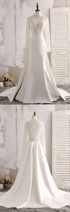 Totally different look tan a traditional ball gown. Love the train skirt. Custom Made Wedding Dresses Wedding Dresses Lace Wedding Dresses With Sleeves Ivory Wedding Dresses Wedding Dresses 2018 V Neck Wedding Dress, Wedding Dresses 2018, Perfect Wedding Dress, Wedding Dress Styles, Bridal Dresses, Dresses Dresses, Before Wedding, Ivory Wedding, Beautiful Dresses