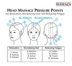 According to Japanese acupressure (Shiatsu), stimulating certain pressure points in the human head can induce general relaxation, reduce fatigue and revitalize hair. Shiatsu is an ancient healing tech Lymphatic Drainage Massage, Acupressure Massage, Acupressure Points, Massage Tips, Face Massage, Massage Benefits, Massage Therapy, Massage Pressure Points, Physical Therapy