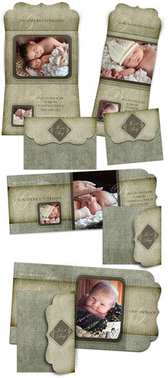 Birth Announcement Templates  GAVIN ANDERSON   8 by ashedesign, $19.99