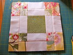 Disappearing 9-patch variation quilt block posted by  TERESADOWNUNDER-a very short video that shows you how to cut your blocks and arrange them afterwards. This tutorial makes two blocks. Use high contrast fabrics for better results.