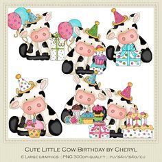Cute Little Cows Birthday Clip Art