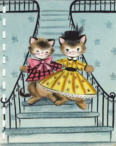 Vintage Hallmark birthday card, from about 1954, illustrated by Vivian Trillow Smith - second inside page of card